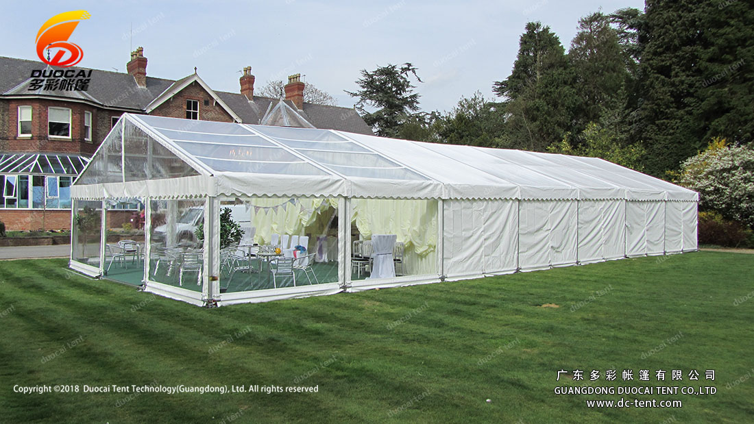 Transparent PVC wedding marquee with lining decoration