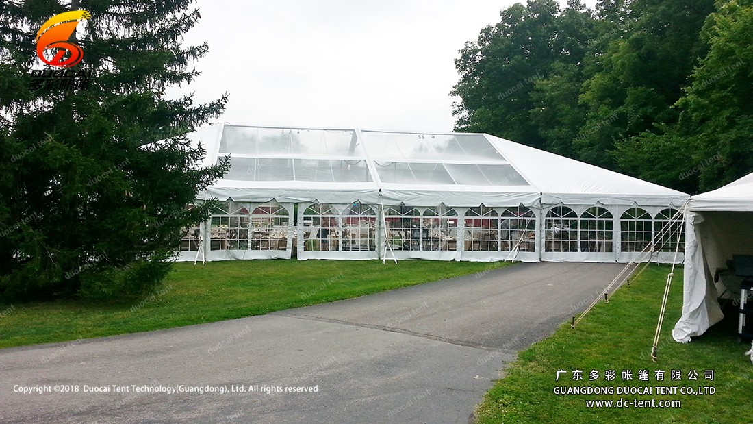 Hip gable end canopy tent for wedding party