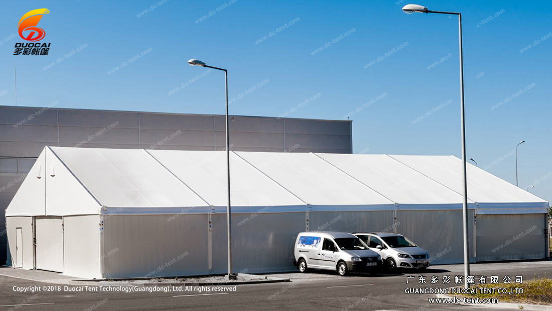 Industrial store tent with ABS wall accessory.