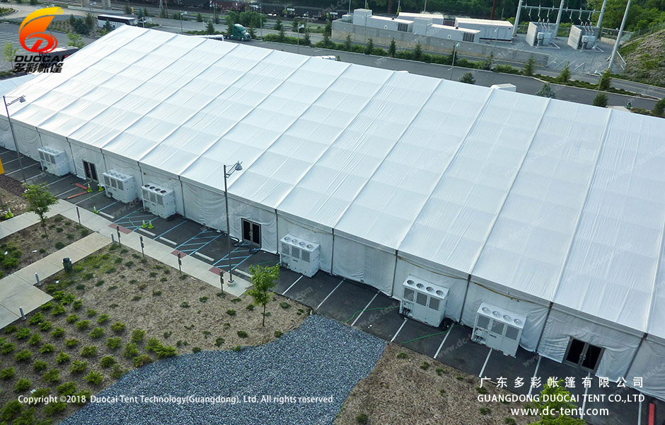 Indoor parking lot made up of large tents