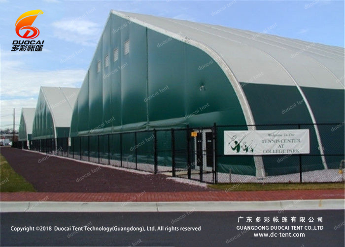 Curved roof tent for indoor sport event
