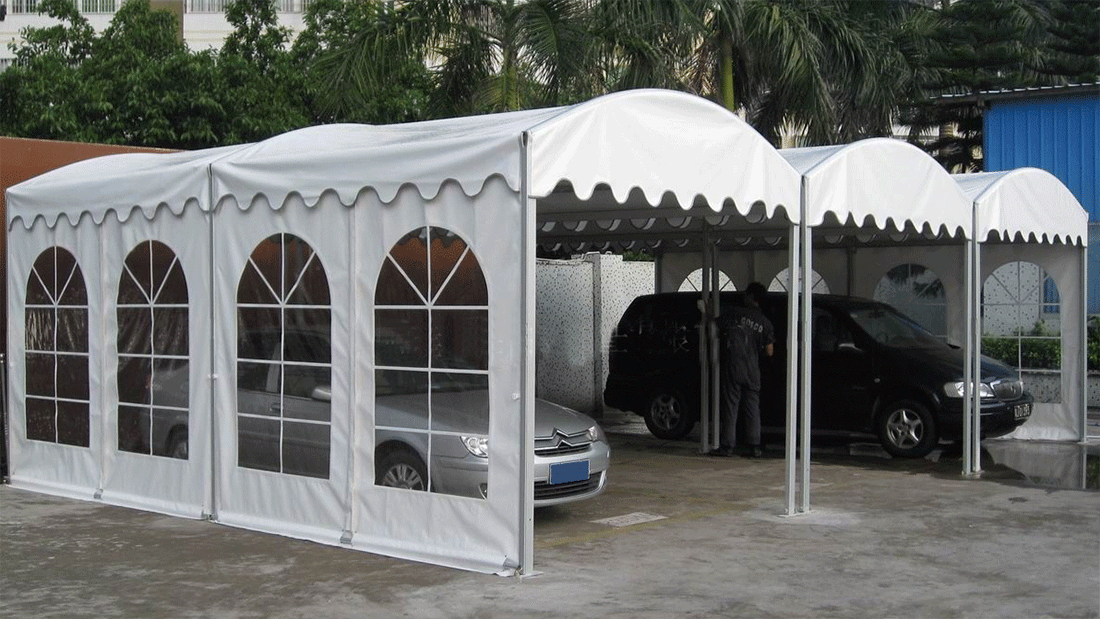 garage built with tent