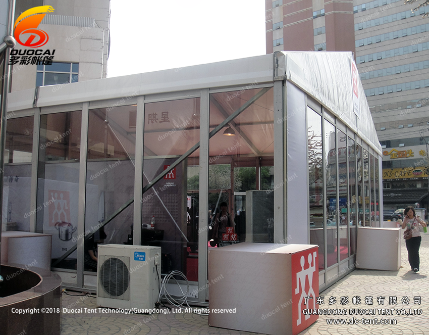European outdoor temporary structure tent with glass walls