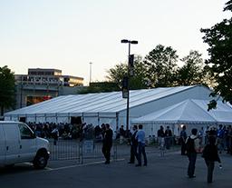 Music festival tent in UK community