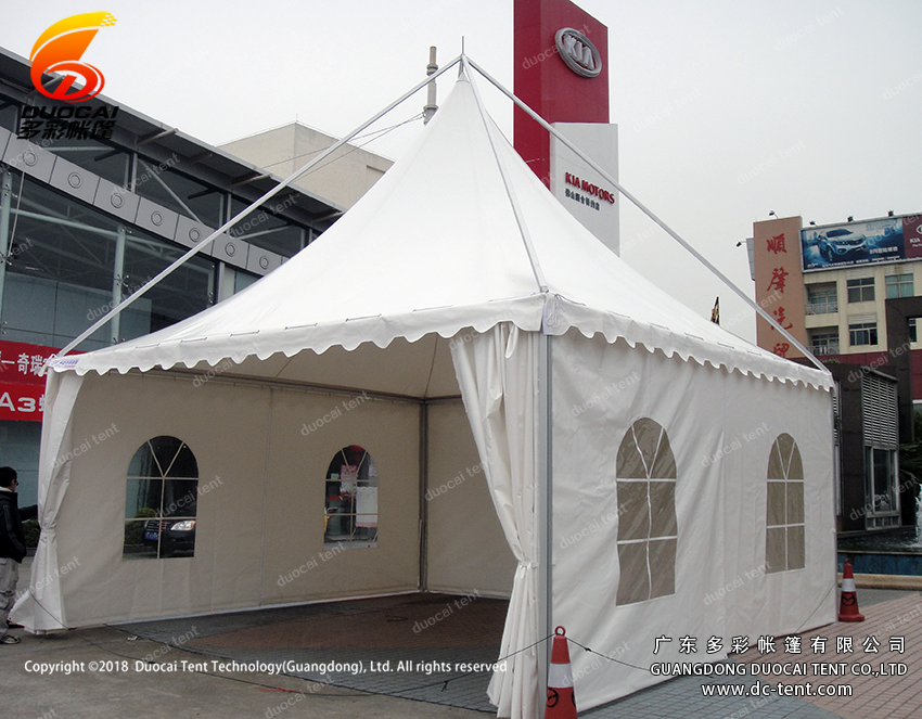 Aluminium gazebo tent system with sidewalls for car show
