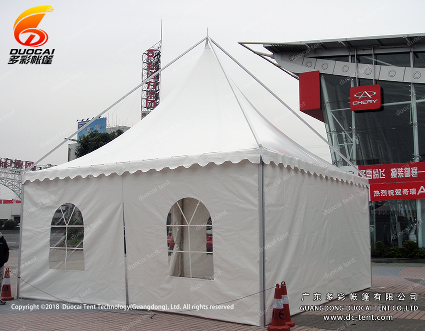 Aluminium gazebo tent system with sidewalls for car show