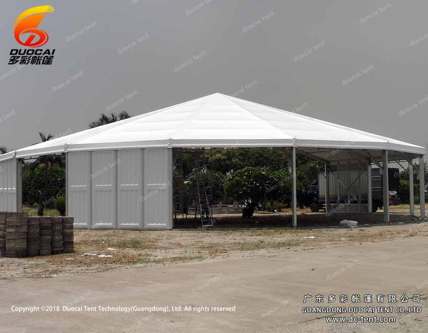Hexagonal tent with PVC wall or glass wall