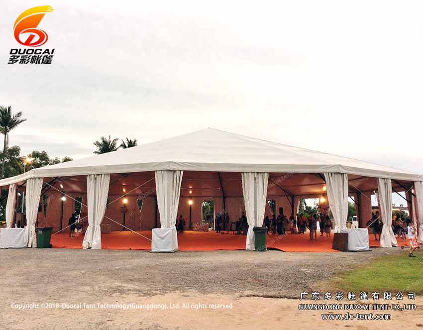 Glass wall decoration for polygon tent