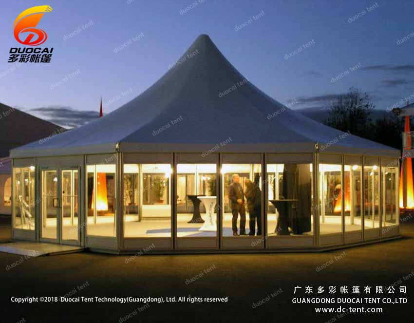 Polygon pagoda tent system with glass sidewalls