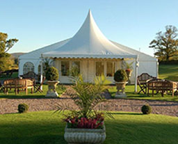 Outdoor marquee for reception hall and event venue