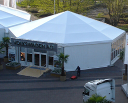 Octagonal tent for Auto show of Volkswagen in German