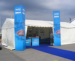 Small size tent for trade fair stand