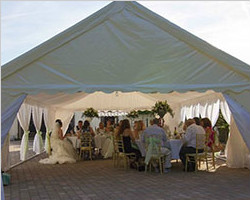 Outdoor marquee tent for banquet with all decoration