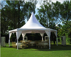 Multi-side tent with a high peak for wedding party