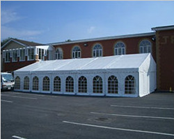 Event tent with PVC window and lining decoration