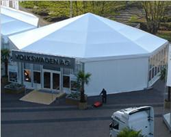 Octagonal tent for Auto show of Volkswagen in German