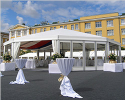 Hexagonal reception tent for commercial